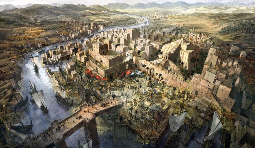 Portada - Ilustración de una ciudad mesopotámica. (Jeff Brown Graphics)