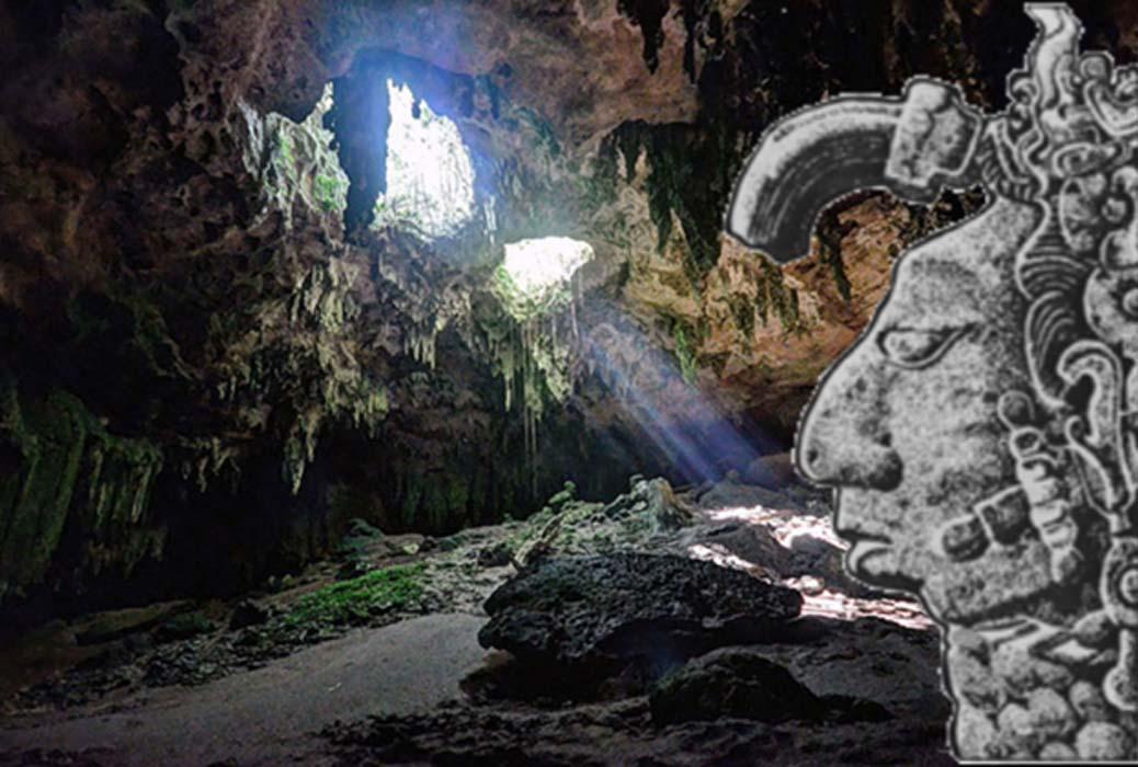 Portada - Entrada superior de la cueva de Loltún (PashiX/ CC BY-SA 4.0) y relieve de un sacerdote maya. (Pedas family)