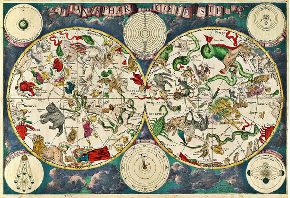 Portada - Antiguo mapa celeste en el que aparecen los hemisferios boreal y austral junto con las constelaciones y los signos del zodíaco. (Public Domain)