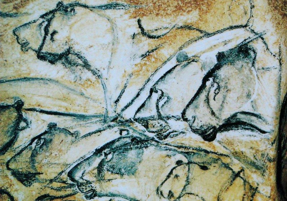 Portada-Leones pintados en las paredes de la cueva Chauvet. Réplica del pabellón Anthropos del Museo de Moravia de Brno. La ausencia de melena se interpreta como señal de que en realidad se trata de leonas. (Public Domain)