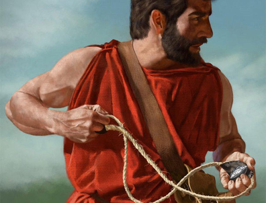 Portada - Hondero espartano listo para disparar su honda. (Imagen: Shumate)