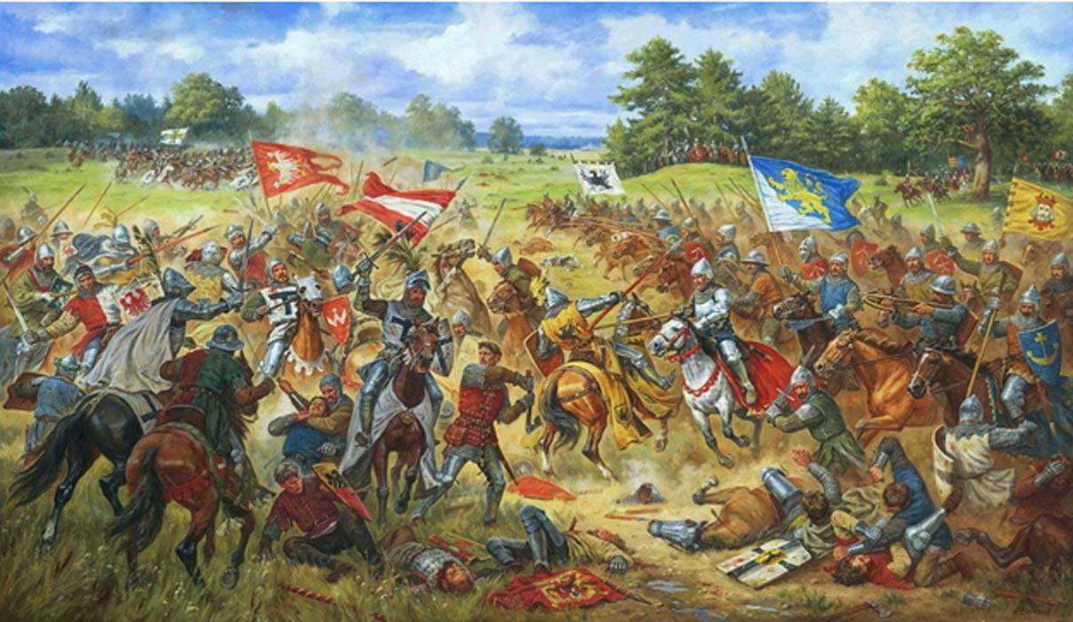 """Portada - """"El estandarte del León Dorado, del recientemente anexionado reino de Rus, en la batalla de Grunwald"""". (CC BY-SA 3.0)"""