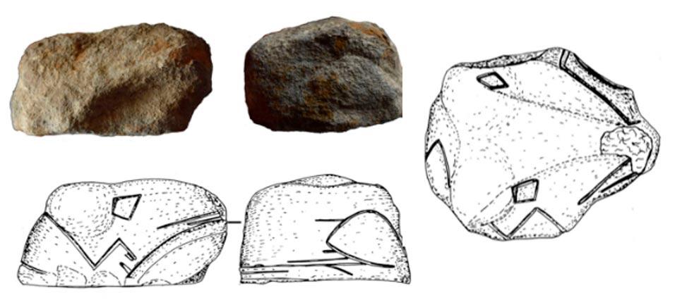 Portada - Antigua figurita de piedra con forma de cabeza de serpiente. Este hallazgo ofrece nuevos datos sobre el arte rupestre de Ucrania y las serpientes en la antigua cultura ucraniana. Fuente: N. Kotova