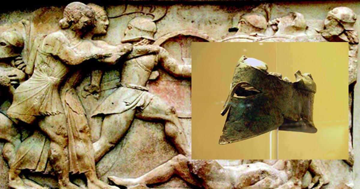 Portada - Principal: relieve de la batalla de Maratón. (Military-history.org). Detalle: casco de Milcíades el Joven, Museo Arqueológico de Olimpia (Public Domain)