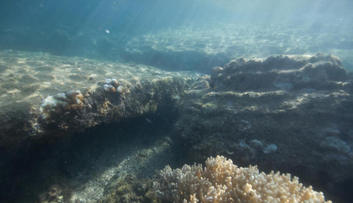 Portada - Fotografía submarina de algunos de los bloques rectangulares de piedra descubiertos junto a la isla tanzana de Mafia. Fotografía: Seaunseen / Alan Sutton
