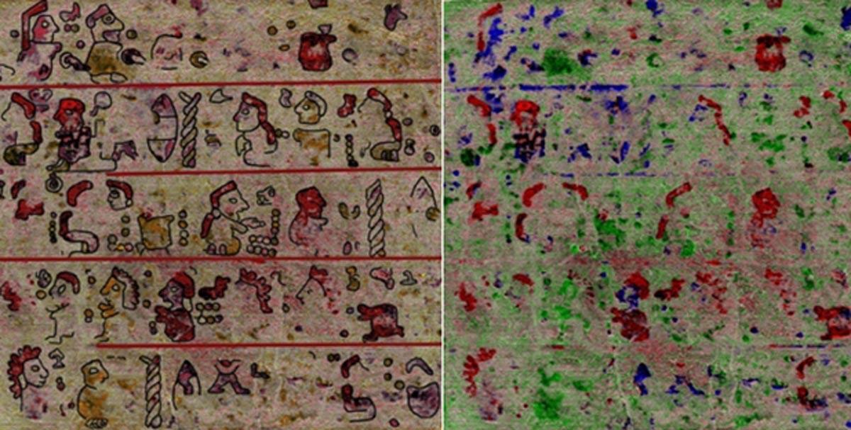 Portada - Páginas del códice recientemente descubierto (derecha) junto con su reconstrucción (izquierda) (Universidad de Leiden)