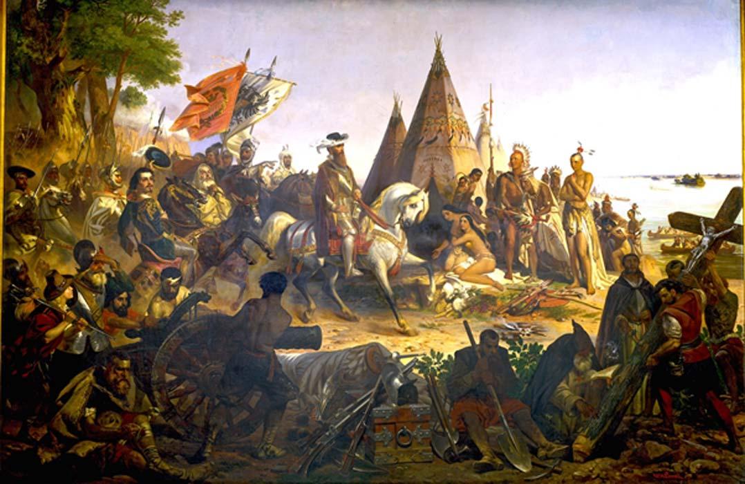 Portada - Conquistadores españoles en el Nuevo Mundo. Fuente: Davepape/Dominio público