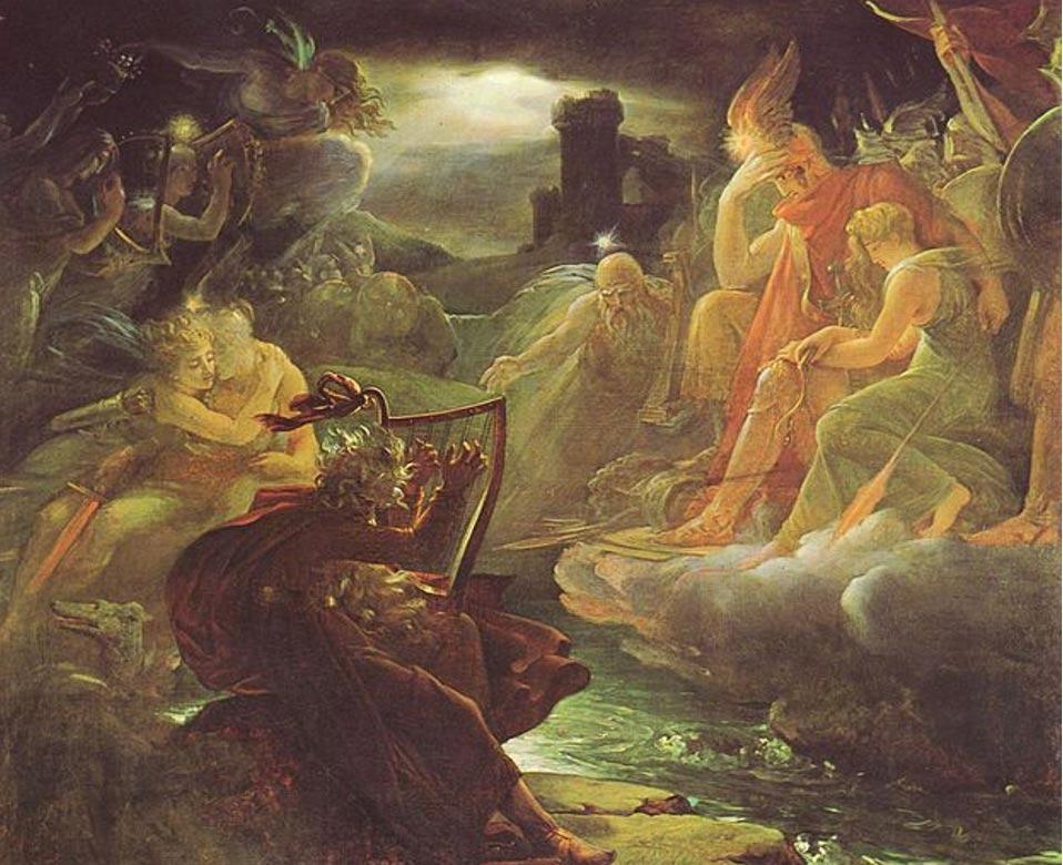 Portada - Famosa escena de la mitología irlandesa. 'Ossian a orillas del Lora' ( Wikimedia Commons )