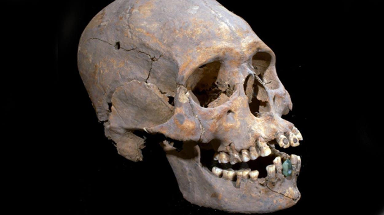 Portada - Cráneo elongado con incrustaciones de pirita en los dientes frontales descubierto recientemente en Teotihuacán, México. Fotografía: Instituto Nacional de Antropología e Historia (INAH)