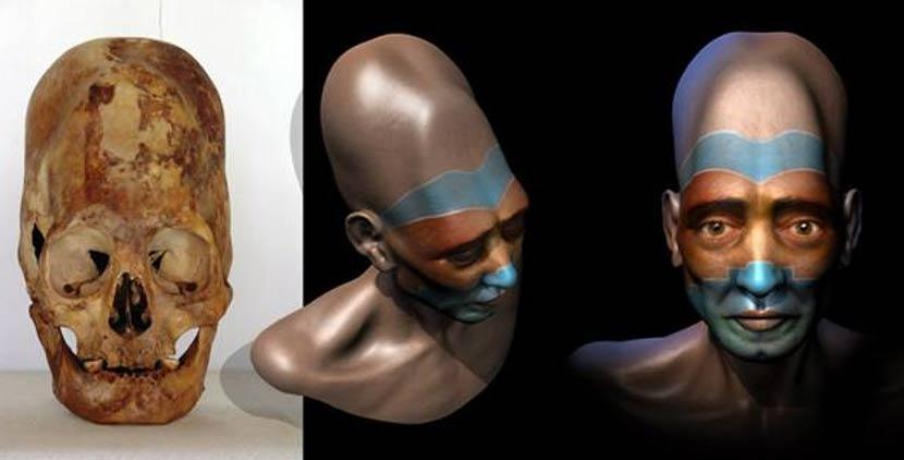 Portada - Cráneo Paracas elongado e impresión artística basada en una reconstrucción digital realizada a partir de uno de los cráneos. (Marcia Moore / Ciamar Studio)