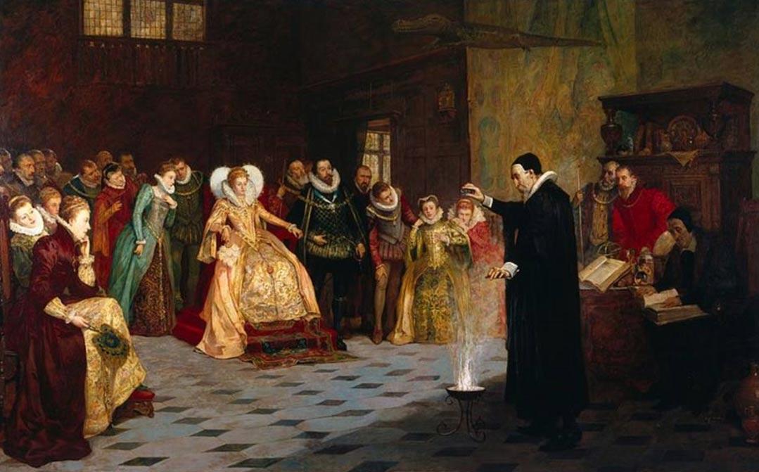 "Portada-""John Dee realizando un experimento ante Isabel I"" (Henry Gillard Glindoni, 1852-1913). Origen: Public Domain"