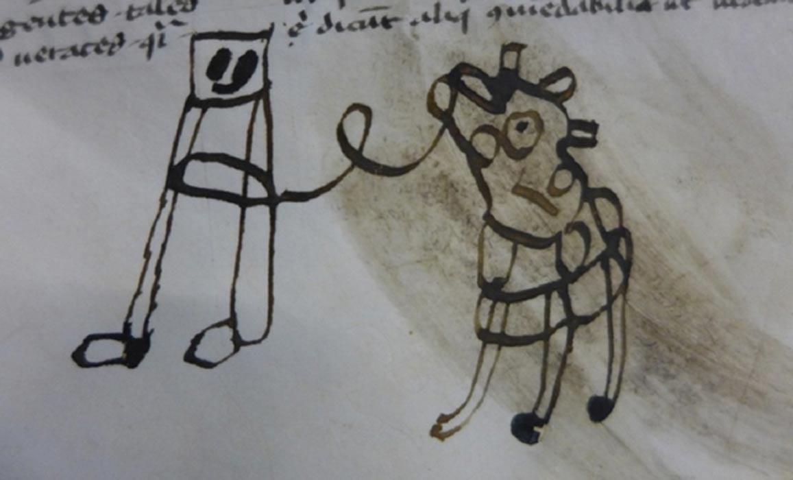 Portada - Dibujos infantiles hallados en un manuscrito medieval. LIS 361, Centro Kislak para Colecciones Especiales, Libros Raros y Manuscritos, Bibliotecas de la Universidad de Pensilvania, folio 26r.