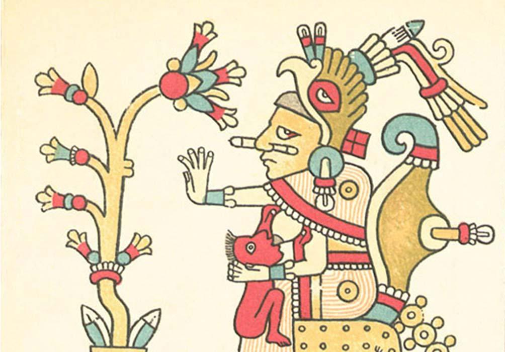 Portada - Xochiquetzal con una flor (Códice Fejérváry-Mayer, página 29) Fuente: Dominio público