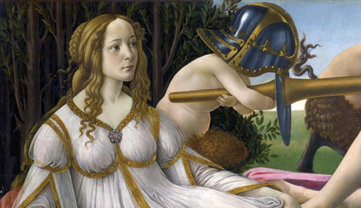 Portada - Detalle de 'Venus y Marte', Botticelli, témpera sobre panel (c. 1483). (Dominio público)