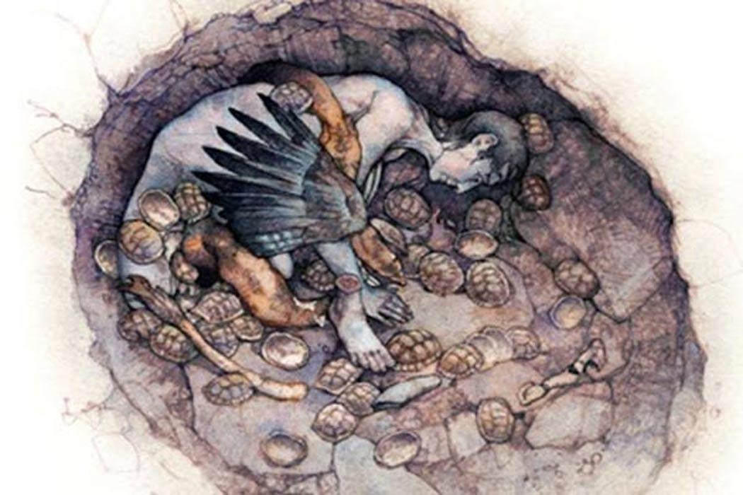 Portada - Recreacion artística del enterramiento de la mujer chamán hallado en el año 2008 en la cueva Hilazon Tachtit de Israel. (Bensozia)