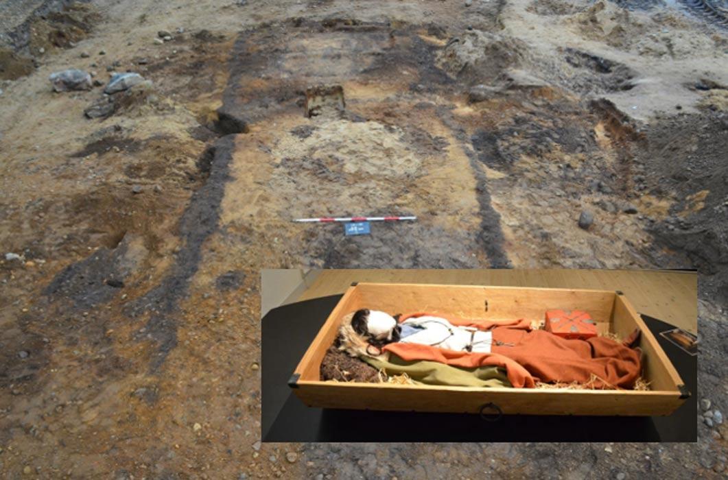 Portada - Principal – Croquis del sepulcro vikingo de hace 1.000 años hallado en el año 2012 en Dinamarca. Detalle – Recreación del posible aspecto de la mujer vikinga en el momento de ser enterrada. (Fotografía: Museo de Silkeborg)