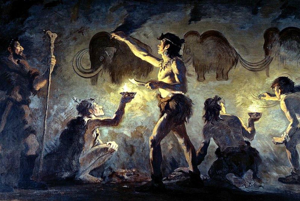 Portada - Artistas Cro-Magnon pintando en la cueva de Font-de-Gaume, óleo de Charles Robert Knight (1874–1953). (Public Domain)