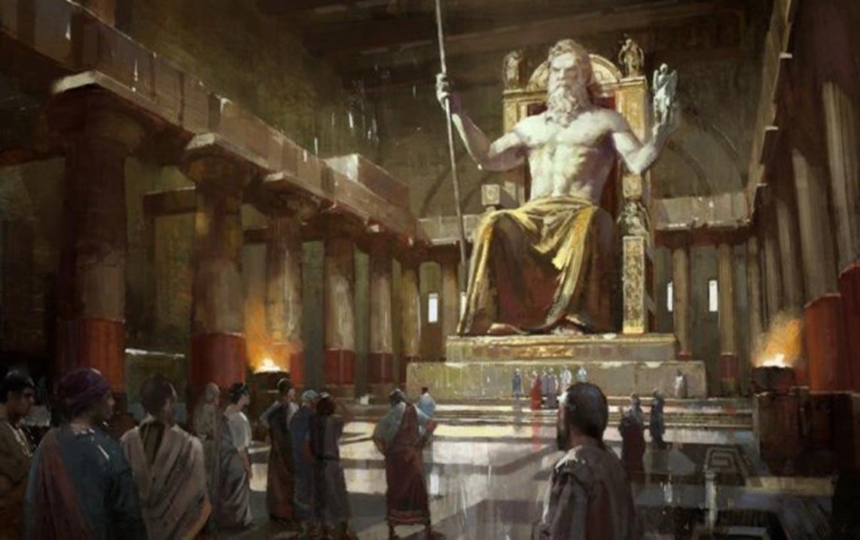 Portada-La estatua sedente de Zeus en Olimpia fue realizada por el escultor griego Fidias. Medía 39 pies o 12 metros de alto. Estaba envuelta por brotes de olivo de oro y se sentaba sobre un magnífico trono de madera de cedro. Se encontraba, toda ella, decorada con marfil, oro, ébano y piedras preciosas. (barringtheaegis.blogspot.com)