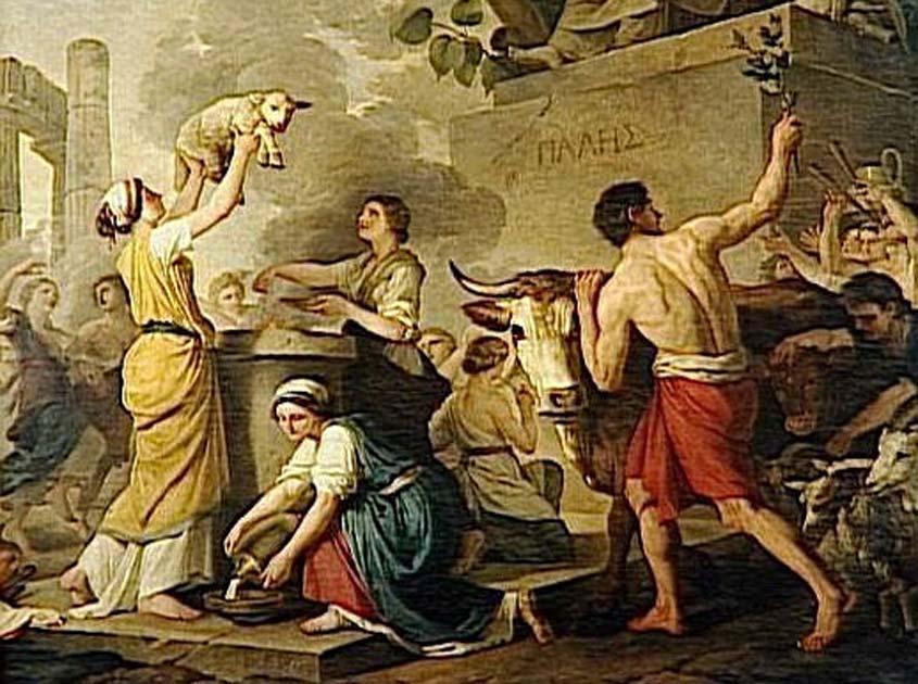 'Fête à Palès, ou l'Eté' óleo de Joseph-Benoît Suvée (Public Domain)