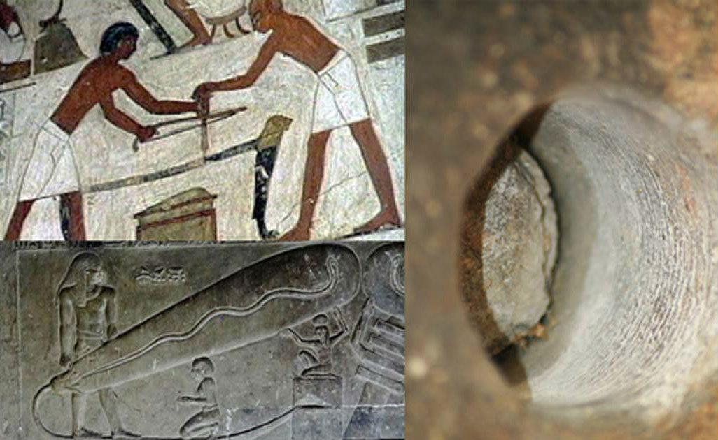 """Portada - Fotocomposición. Uso de herramientas comunes para trabajar la piedra en el antiguo Egipto. (Egyptraveluxe Tours) La conocida como """"Lámpara de Dendera"""". (Olaf Tausch/CC BY 3.0) Guiza, Egipto. Primer plano de una perforación realizada en granito con surcos en espiral. (Chris Dunn.2007)"""