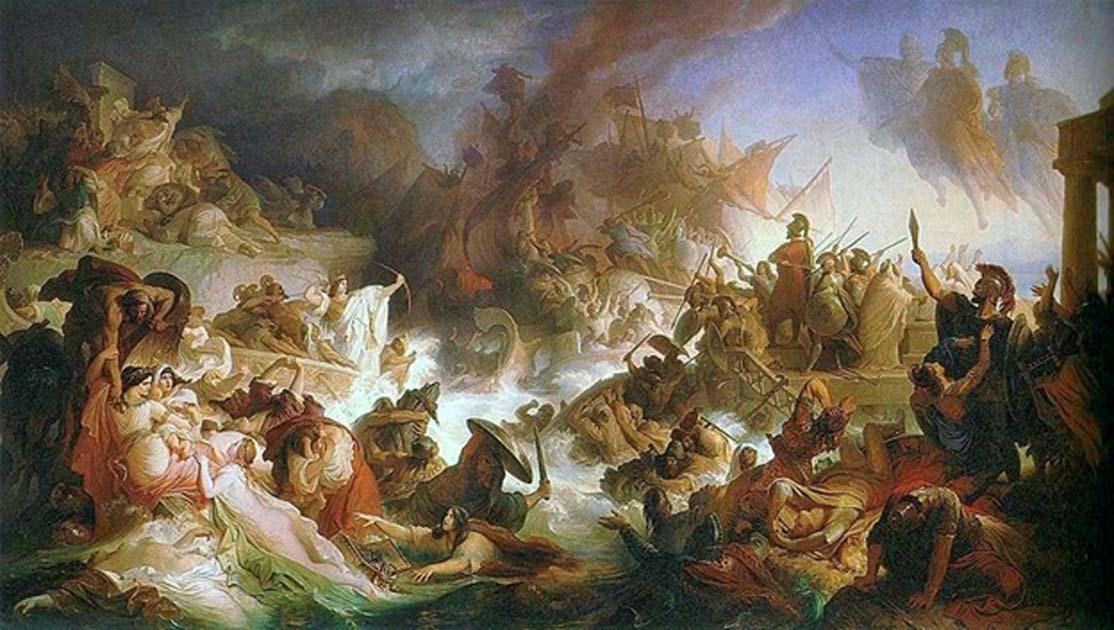 Portada - 'Batalla de Salamina' (1868). Óleo de Wilhem von Kaulbach. (Public Domain)