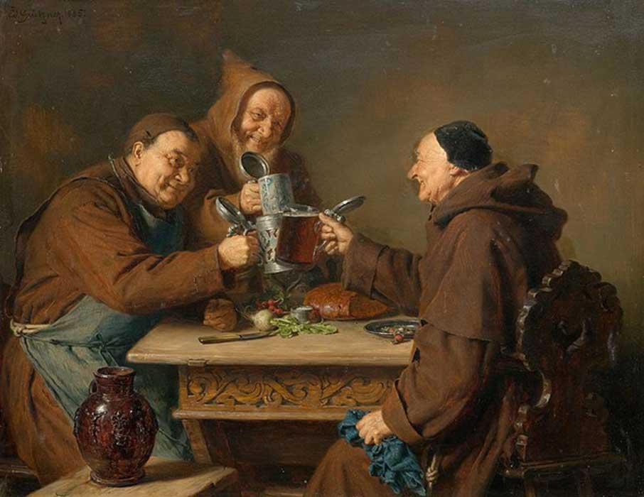 Portada - 'Tres monjes bebiendo cerveza' (1885), óleo de Eduard Grützner. (Public Domain)