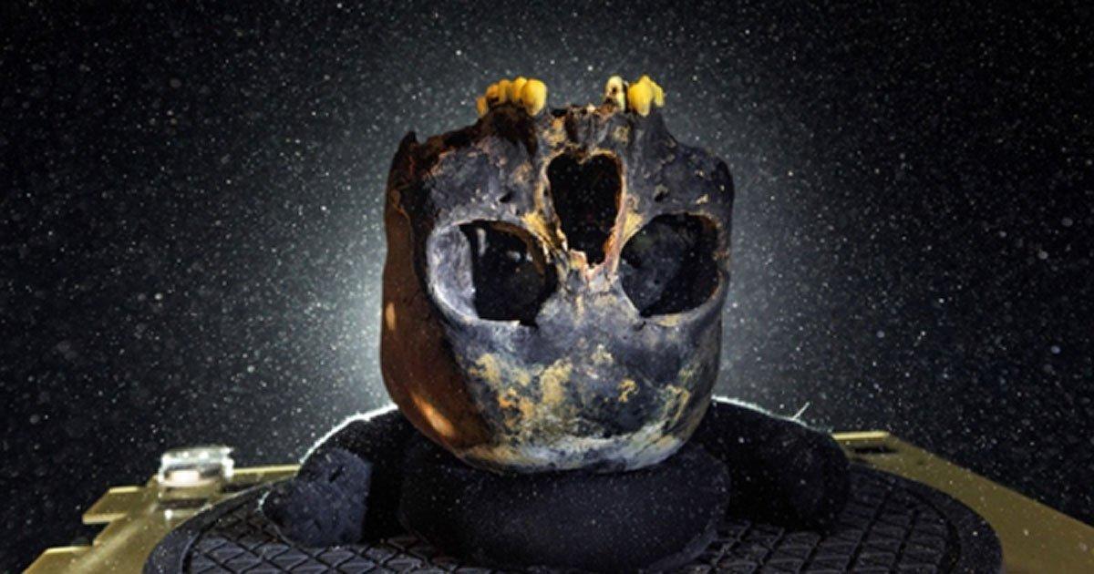 Portada - Cráneo de la joven hallado junto con la mayor parte de su esqueleto en el fondo de una profunda cueva, ahora submarina, de la península de Yucatán en México. (Paul Nicklen/NGC)