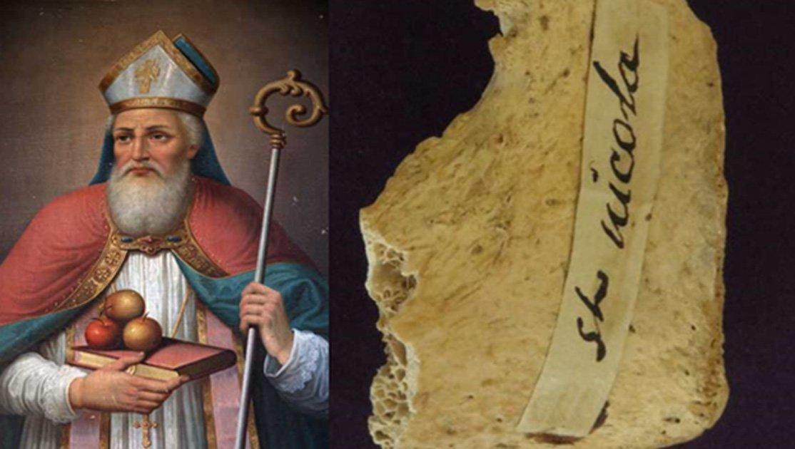 Portada - Retrato de San Nicolás. (BigStockPhoto). Reliquia de San Nicolás (fragmento de pelvis) custodiada en la Iglesia de Santa María de Betania/Ermita de Todos los Santos de la localidad de Morton Grove, Illinois, Estados Unidos. (T. Higham & G. Kazan)