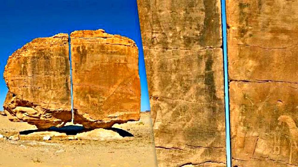 Portada - El corte, tan extremadamente preciso, ha planteado la hipótesis de que la partición del megalito de Al-Naslaa fuera producida por una tecnología desconocida (Fotografía: DiscloseTV/La Gran Época)