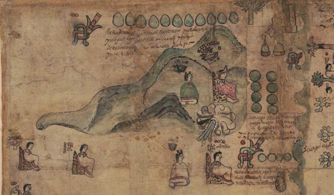 Portada - Detalle de la sección superior izquierda del Códice Quetzalecatzin (1593). [México: autor no identificado] Mapa obtenido de la Biblioteca del Congreso. (Dominio público)