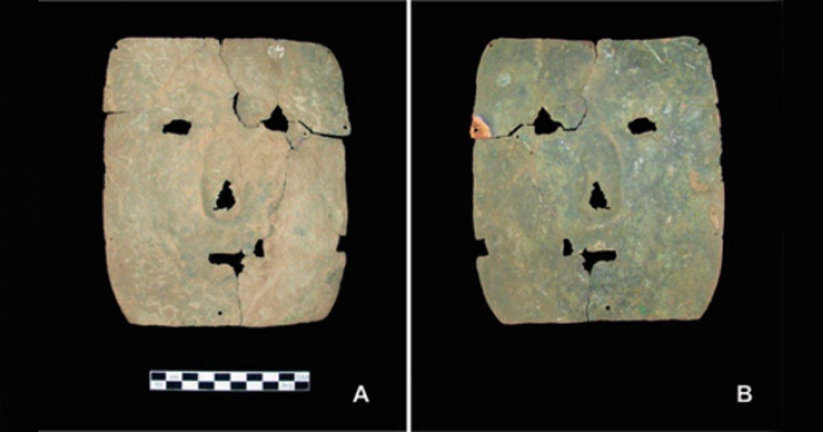 Portada - Vista frontal y posterior de la máscara de cobre de hace 3.000 años hallada recientemente en los Andes argentinos. (Fotografía: Leticia Inés Cortés/María Cristina Scattolin/Antiquity)