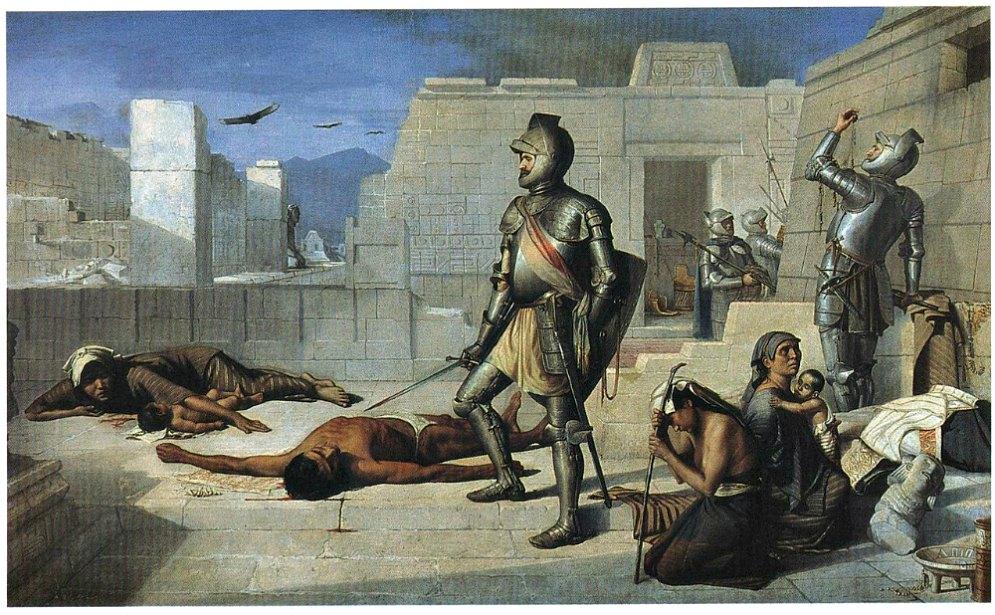 Portada - Episodios de la Conquista: La matanza de Cholula (1877). Óleo del pintor Félix Parra (1845-1919). Universidad de la Sorbona de París, Francia. (Public Domain)