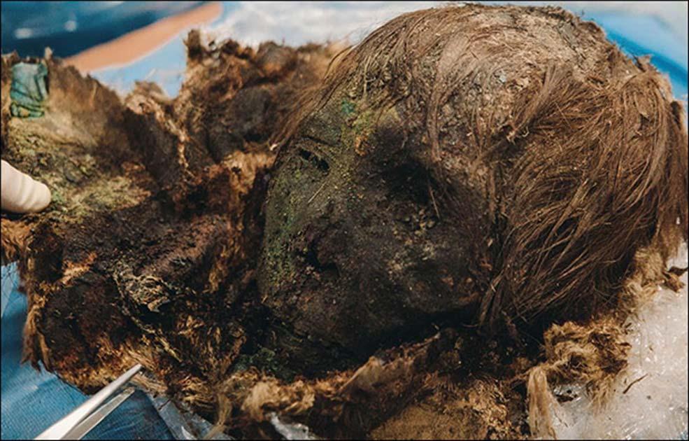 Portada - Cabeza momificada de una mujer desenterrada al límite del Círculo Polar Ártico, cerca del río Gorny Poluy, Zeleniy Yar, Siberia. Fotografía: Irina Sharova
