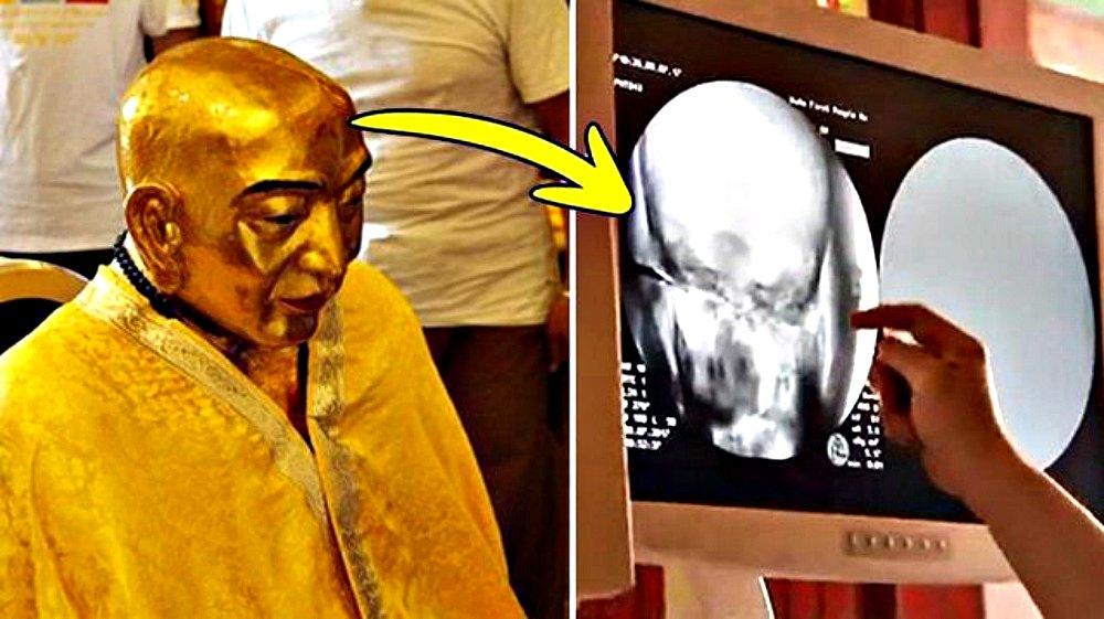 Portada - Detalle de la momia y de la tomografía computarizada a la que fue sometida. (Fotografías: La Gran Época).