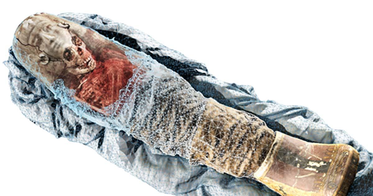 Portada - La tomografía computarizada y el escáner tridimensional se han combinado para examinar la antigua momia de la niña egipcia y crear un modelo en tres dimensiones de gran realismo. (Volume Graphics)