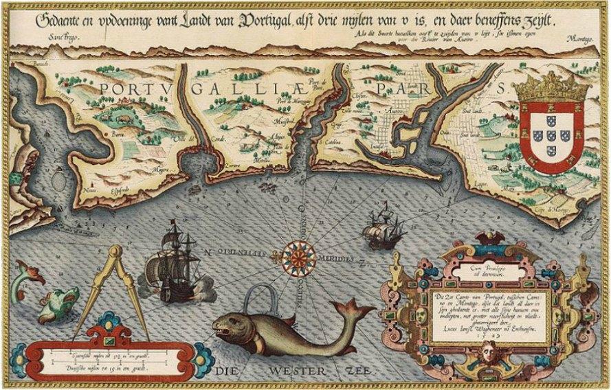 Portada - Mapa marino de la costa portuguesa realizado por Christoffel Plantijn, Leiden, ilustración publicada en la revista 'The Mariner's Mirror'. Bibliotecas de la Universidad de Texas en Arlington. (Public Domain)