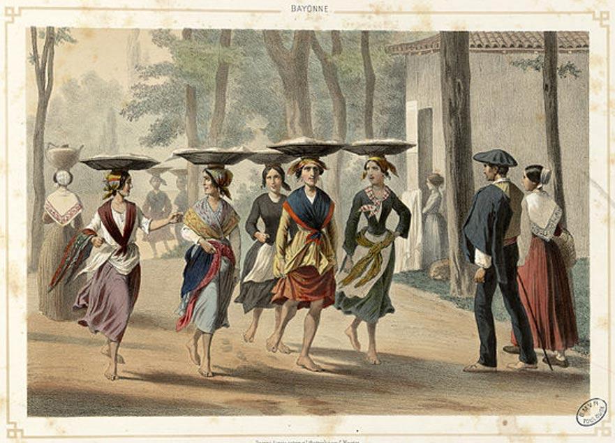 Portada-mujeres vascas en Bayona (1852) (Wikimedia Commons)