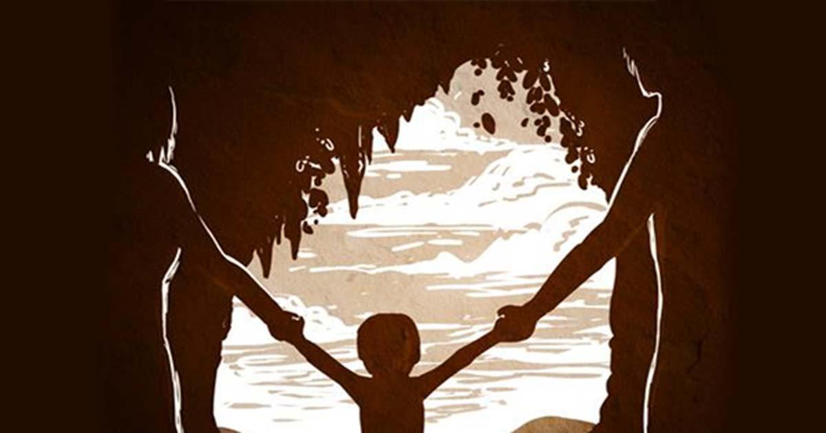 Portada - Dibujo de una madre Neandertal y un padre Denisovano con su hija en la cueva de Denísova (Rusia) Fuente: Petra Korlević