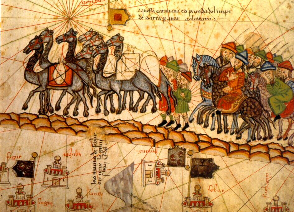 Portada - Ilustración del siglo XIV de una caravana de camellos recorriendo la Ruta de la Seda. Fuente: Dominio público
