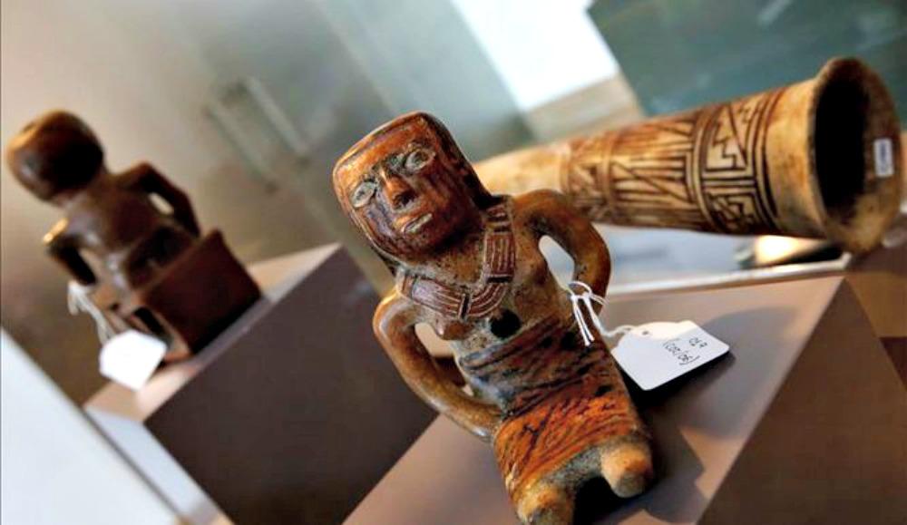 Portada-Algunas de las 49 piezas arqueológicas de arte precolombino recuperadas en el transcurso de la operación Florencia llevada a cabo por la Policía Nacional española. (EFE/tvn-2)
