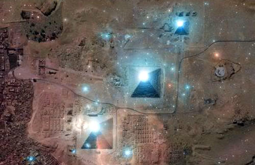Portada - Correlación de las tres grandes pirámides con el Cinturón de Orión. (Fotografía: Historia Enigmática)