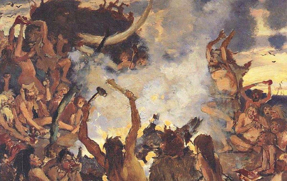 Portada - Recreación artística de una celebración en el Paleolítico Superior. Óleo de Viktor Vasnetsov (1883) (Public Domain)