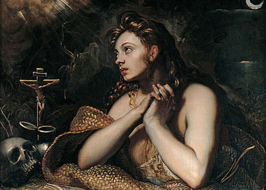 Portada - Detalle de 'Magdalena penitente', (1598-1602), óleo de Domenico Tintoretto. (Public Domain)