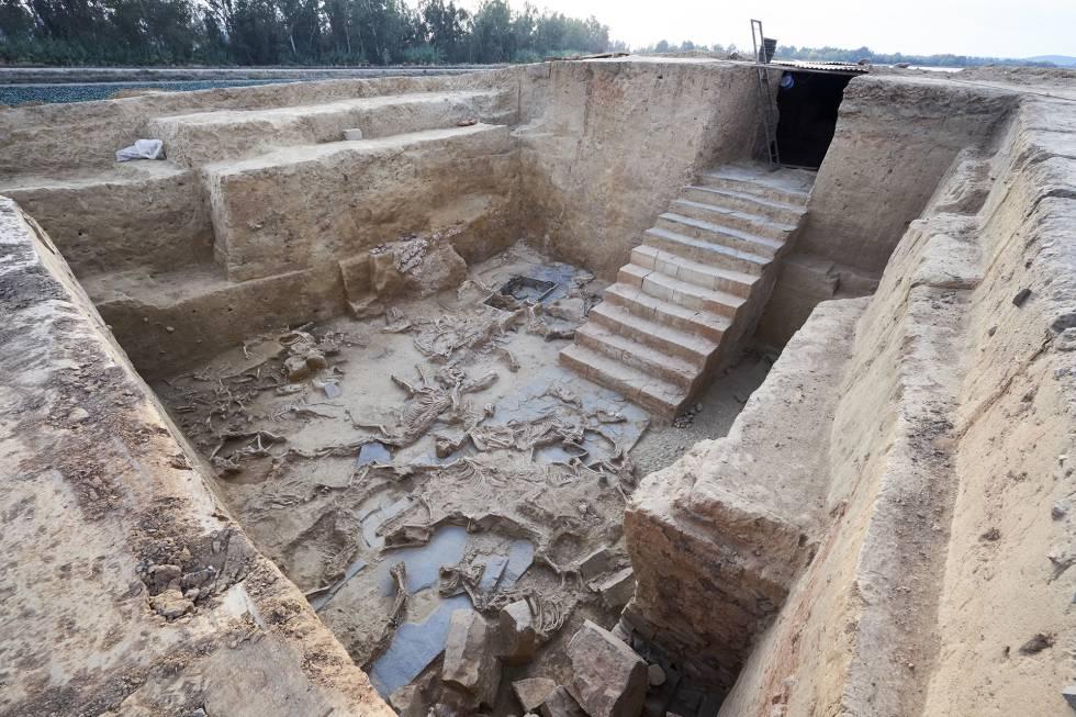 Portada - La antropóloga Victoria Peña con los huesos humanos recientemente descubiertos en un yacimiento tartésico de la provincia de Badajoz. Fuente J. M. Romero / El País