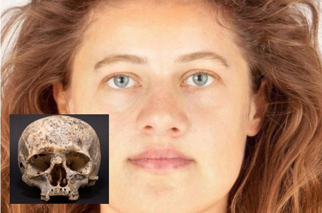 Portada - Reconstrucción facial realizada por el artista forense Hew Morrison mediante un software especial. Fotografía: Hew Morrison. Detalle: el cráneo de 'Ava', cuya antigüedad es de 3.700 años y que ha servido de modelo para la reconstrucción facial realizada por Morrison. Fotografía: Michael Sharpe.