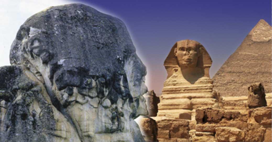Portada - Formación rocosa de Marcahuasi que recuerda a un rostro humano (CC BY-SA 3.0) junto a Pirámides y Esfinge de Guiza (CC BY 2.0)