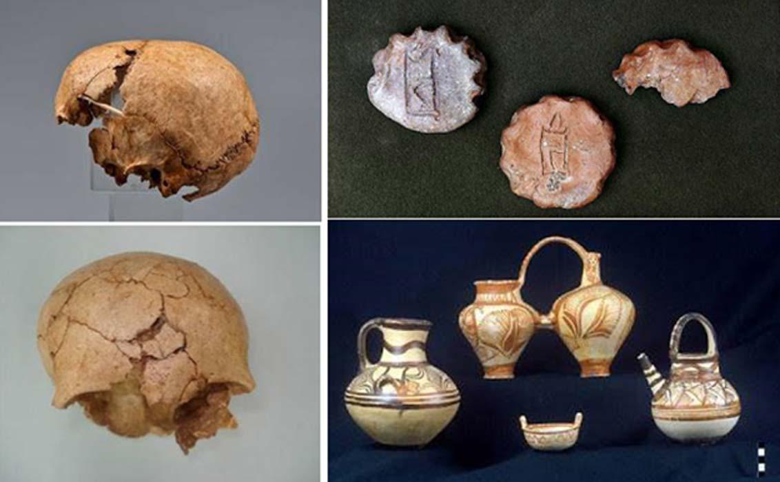 Portada - Izquierda, dos vistas del cráneo fragmentado de una joven que fue probablemente víctima de un sacrificio humano en la antigua Creta. (Maria Andreadaki-Vlazaki via ANA-MPA). Derecha, algunos de los antiguos objetos descubiertos en el palacio micénico de Cidonia. (Maria Andreadaki-Vlazaki via ANA-MPA)