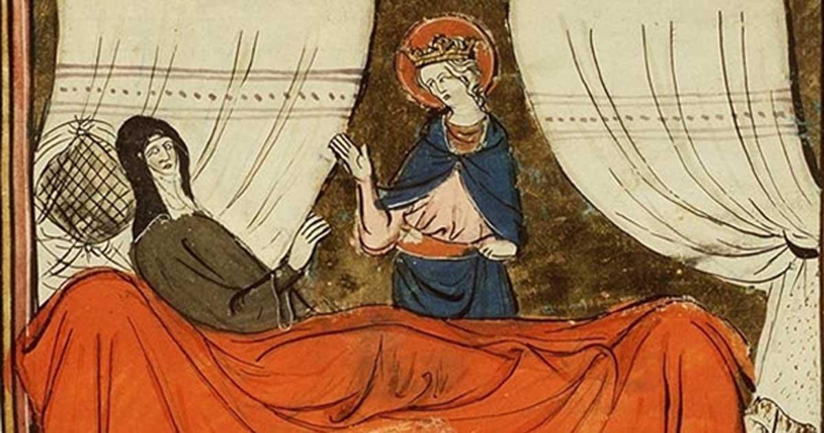 Portada - Manuscrito medieval con una ilustración de la leyenda sobre la monja que rezaba el Ave María ciento cincuenta veces al día. Fuente: Koninklijke Bibliotheek / CC BY SA 2.0