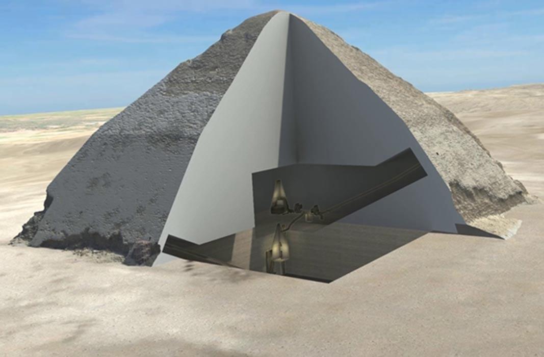 Portada - Sección tridimensional del interior de la Pirámide de Seneferu. (Ministerio Egipcio de Antigüedades, HIP Institute y Facultad de Ingeniería de la Universidad de El Cairo)