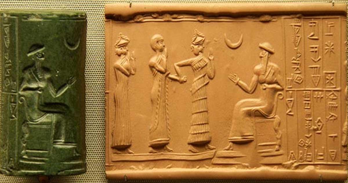 Portada - Sello cilíndrico neosumerio de jade verde hallado en Babilonia, 2100 a. C. (Steve Harris/CC BY NC 2.0)